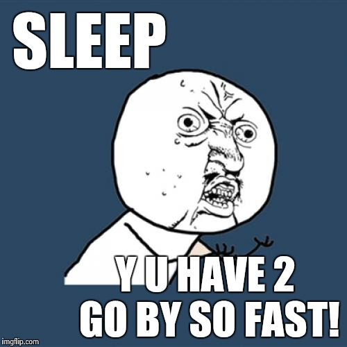 Y U Have 2 | SLEEP Y U HAVE 2 GO BY SO FAST! | image tagged in memes,y u no,y u have 2,sleep | made w/ Imgflip meme maker