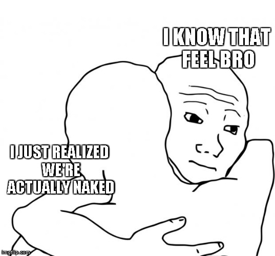 I Know That Feel Bro Meme | I KNOW THAT FEEL BRO I JUST REALIZED WE'RE ACTUALLY NAKED | image tagged in memes,i know that feel bro | made w/ Imgflip meme maker