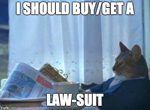 I Should Buy A Boat Cat Meme | I SHOULD BUY/GET A LAW-SUIT | image tagged in memes,i should buy a boat cat | made w/ Imgflip meme maker