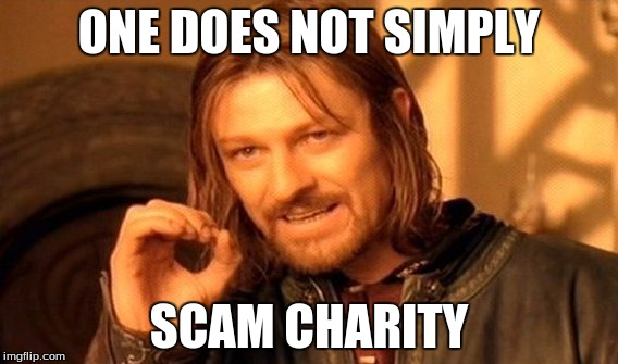 One Does Not Simply Meme | ONE DOES NOT SIMPLY SCAM CHARITY | image tagged in memes,one does not simply | made w/ Imgflip meme maker