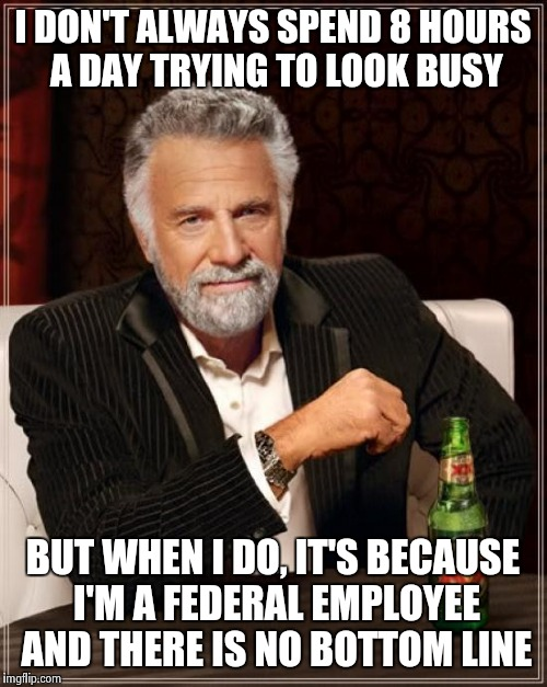 The Most Interesting Man In The World Meme | I DON'T ALWAYS SPEND 8 HOURS A DAY TRYING TO LOOK BUSY BUT WHEN I DO, IT'S BECAUSE I'M A FEDERAL EMPLOYEE AND THERE IS NO BOTTOM LINE | image tagged in memes,the most interesting man in the world | made w/ Imgflip meme maker