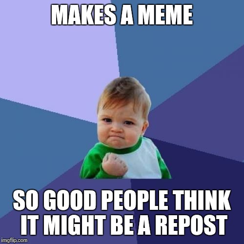 Success Kid Meme | MAKES A MEME SO GOOD PEOPLE THINK IT MIGHT BE A REPOST | image tagged in memes,success kid | made w/ Imgflip meme maker