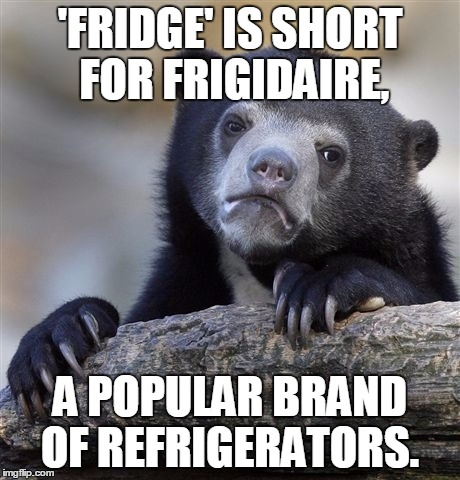 Confession Bear Meme | 'FRIDGE' IS SHORT FOR FRIGIDAIRE, A POPULAR BRAND OF REFRIGERATORS. | image tagged in memes,confession bear | made w/ Imgflip meme maker