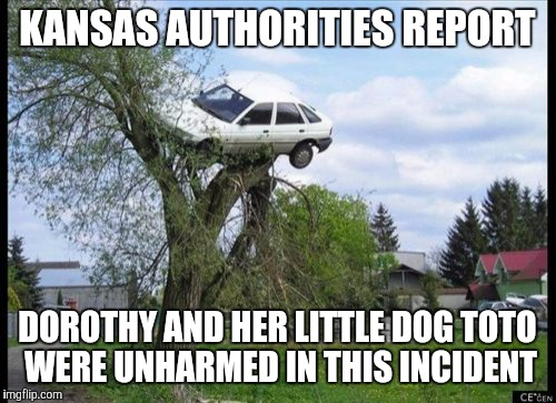 Secure Parking Meme | KANSAS AUTHORITIES REPORT DOROTHY AND HER LITTLE DOG TOTO WERE UNHARMED IN THIS INCIDENT | image tagged in memes,secure parking | made w/ Imgflip meme maker