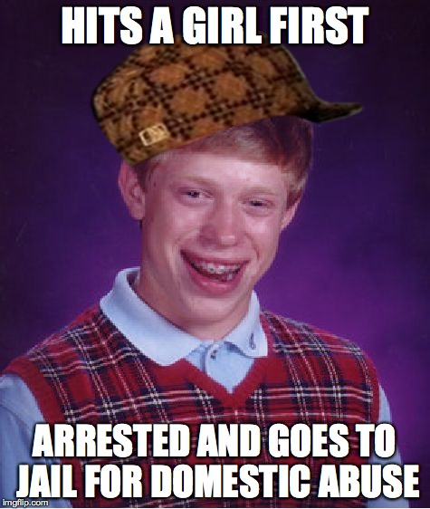 Bad Luck Brian Meme | HITS A GIRL FIRST ARRESTED AND GOES TO JAIL FOR DOMESTIC ABUSE | image tagged in memes,bad luck brian,scumbag | made w/ Imgflip meme maker