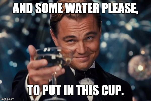 Leonardo Dicaprio Cheers Meme | AND SOME WATER PLEASE, TO PUT IN THIS CUP. | image tagged in memes,leonardo dicaprio cheers | made w/ Imgflip meme maker
