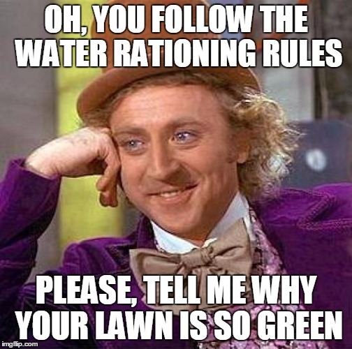 Meanwhile in Cali.... | OH, YOU FOLLOW THE WATER RATIONING RULES PLEASE, TELL ME WHY YOUR LAWN IS SO GREEN | image tagged in memes,creepy condescending wonka | made w/ Imgflip meme maker