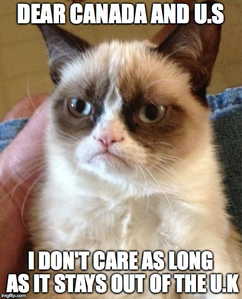 Grumpy Cat Meme | DEAR CANADA AND U.S I DON'T CARE AS LONG AS IT STAYS OUT OF THE U.K | image tagged in memes,grumpy cat | made w/ Imgflip meme maker