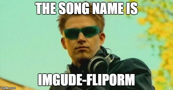 THE SONG NAME IS IMGUDE-FLIPORM | image tagged in darude | made w/ Imgflip meme maker