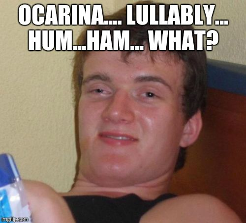 10 Guy Meme | OCARINA.... LULLABLY... HUM...HAM... WHAT? | image tagged in memes,10 guy | made w/ Imgflip meme maker