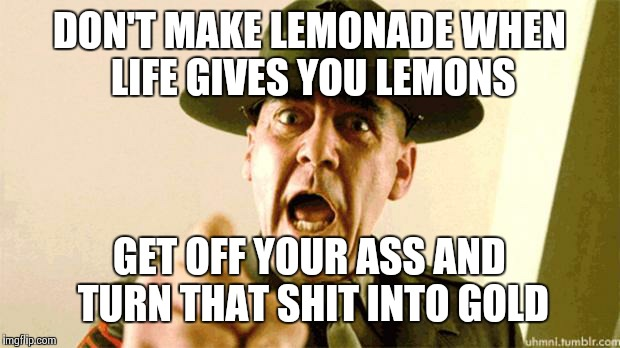 Drill Instructor | DON'T MAKE LEMONADE WHEN LIFE GIVES YOU LEMONS GET OFF YOUR ASS AND TURN THAT SHIT INTO GOLD | image tagged in drill instructor | made w/ Imgflip meme maker
