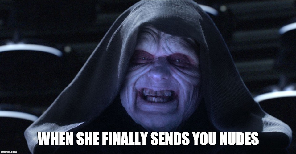 When she finally send you nudes | WHEN SHE FINALLY SENDS YOU NUDES | image tagged in finally send nudes,emperor palpatine | made w/ Imgflip meme maker