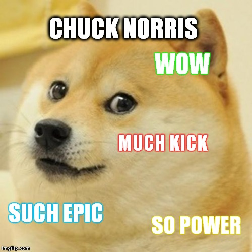 Doge | CHUCK NORRIS WOW MUCH KICK SUCH EPIC SO POWER | image tagged in memes,doge | made w/ Imgflip meme maker