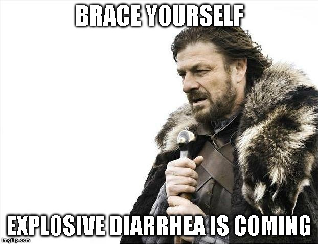 Brace Yourselves X is Coming Meme | BRACE YOURSELF EXPLOSIVE DIARRHEA IS COMING | image tagged in memes,brace yourselves x is coming | made w/ Imgflip meme maker