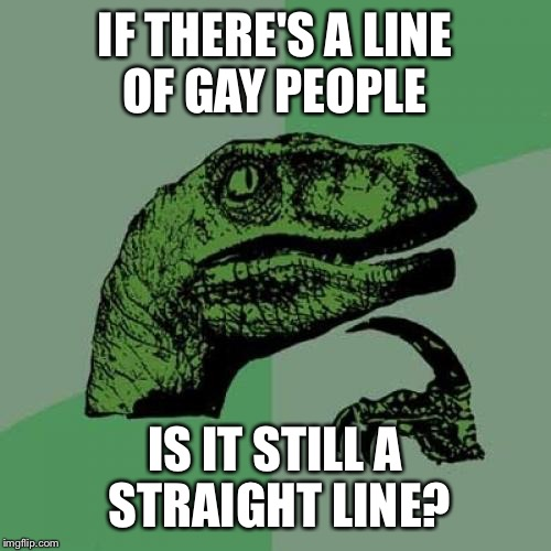 Philosoraptor Meme | IF THERE'S A LINE OF GAY PEOPLE IS IT STILL A STRAIGHT LINE? | image tagged in memes,philosoraptor | made w/ Imgflip meme maker