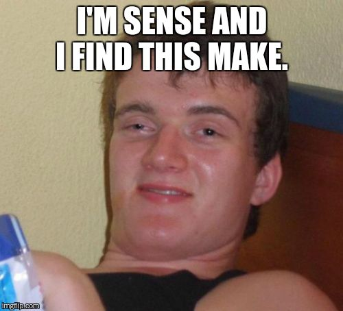 10 Guy Meme | I'M SENSE AND I FIND THIS MAKE. | image tagged in memes,10 guy | made w/ Imgflip meme maker