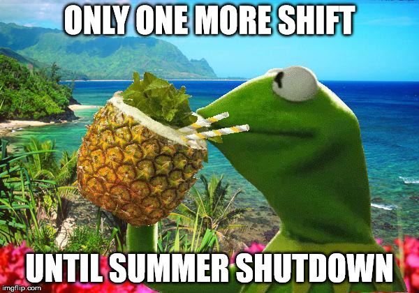 vacation kermit | ONLY ONE MORE SHIFT UNTIL SUMMER SHUTDOWN | image tagged in vacation kermit | made w/ Imgflip meme maker