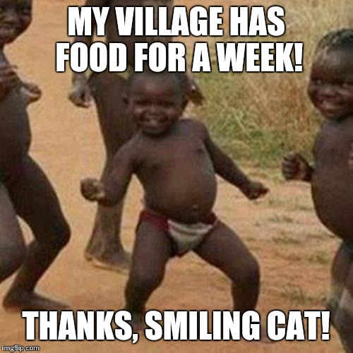 Third World Success Kid Meme | MY VILLAGE HAS FOOD FOR A WEEK! THANKS, SMILING CAT! | image tagged in memes,third world success kid | made w/ Imgflip meme maker