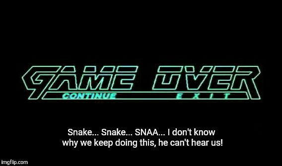Fission Mailed | Snake... Snake... SNAA... I don't know why we keep doing this, he can't hear us! | image tagged in game,metal gear solid,1,mgs | made w/ Imgflip meme maker