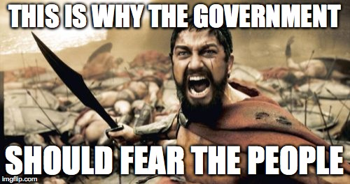 Sparta Leonidas Meme | THIS IS WHY THE GOVERNMENT SHOULD FEAR THE PEOPLE | image tagged in memes,sparta leonidas | made w/ Imgflip meme maker