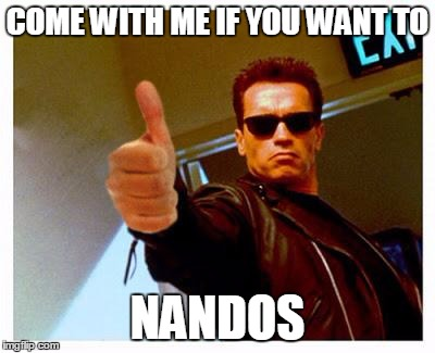 terminator thumbs up | COME WITH ME IF YOU WANT TO NANDOS | image tagged in terminator thumbs up,food,chicken | made w/ Imgflip meme maker
