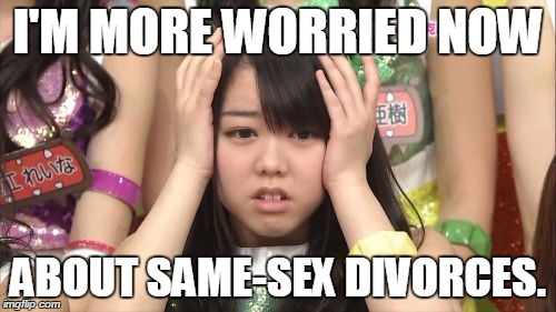 Minegishi Minami | I'M MORE WORRIED NOW ABOUT SAME-SEX DIVORCES. | image tagged in memes,minegishi minami,gay marriage | made w/ Imgflip meme maker