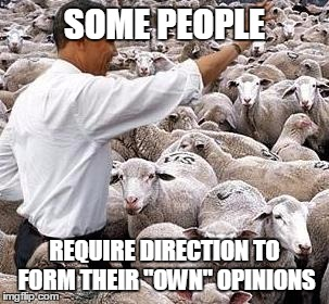 "SOME PEOPLE REQUIRE DIRECTION TO FORM THEIR ""OWN"" OPINIONS 