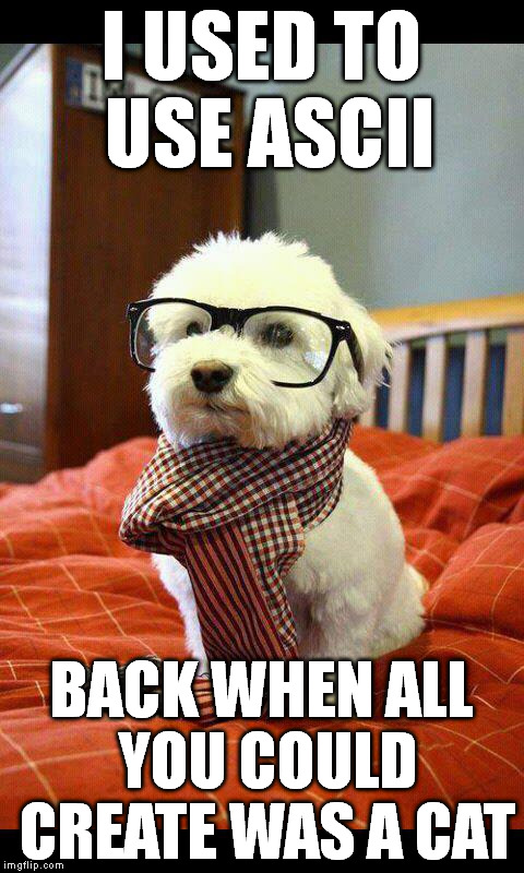 Hipster Dog | I USED TO USE ASCII BACK WHEN ALL YOU COULD CREATE WAS A CAT | image tagged in memes,intelligent dog,dog,ascii,art,cat | made w/ Imgflip meme maker