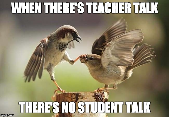 Birds shut up | WHEN THERE'S TEACHER TALK THERE'S NO STUDENT TALK | image tagged in birds shut up | made w/ Imgflip meme maker