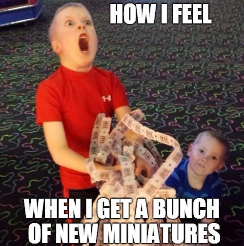 Overly Excited Ticket Kid | HOW I FEEL WHEN I GET A BUNCH OF NEW MINIATURES | image tagged in overly excited ticket kid | made w/ Imgflip meme maker