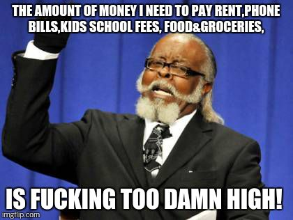 Too Damn High Meme | THE AMOUNT OF MONEY I NEED TO PAY RENT,PHONE BILLS,KIDS SCHOOL FEES, FOOD&GROCERIES, IS F**KING TOO DAMN HIGH! | image tagged in memes,too damn high | made w/ Imgflip meme maker