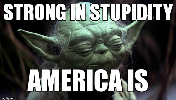 Yoda Corruption In The Force | STRONG IN STUPIDITY  AMERICA IS | image tagged in yoda corruption in the force | made w/ Imgflip meme maker