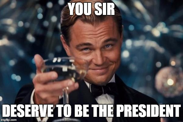 Leonardo Dicaprio Cheers Meme | YOU SIR DESERVE TO BE THE PRESIDENT | image tagged in memes,leonardo dicaprio cheers | made w/ Imgflip meme maker