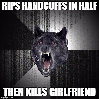 Insanity Wolf | RIPS HANDCUFFS IN HALF THEN KILLS GIRLFRIEND | image tagged in insanity wolf | made w/ Imgflip meme maker
