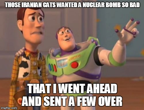 Buzz Kill | THOSE IRANIAN CATS WANTED A NUCLEAR BOMB SO BAD THAT I WENT AHEAD AND SENT A FEW OVER | image tagged in memes,x x everywhere,iran,nuclear bomb | made w/ Imgflip meme maker