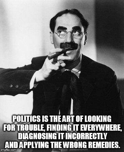 POLITICS IS THE ART OF LOOKING FOR TROUBLE, FINDING IT EVERYWHERE, DIAGNOSING IT INCORRECTLY AND APPLYING THE WRONG REMEDIES. | image tagged in groucho | made w/ Imgflip meme maker
