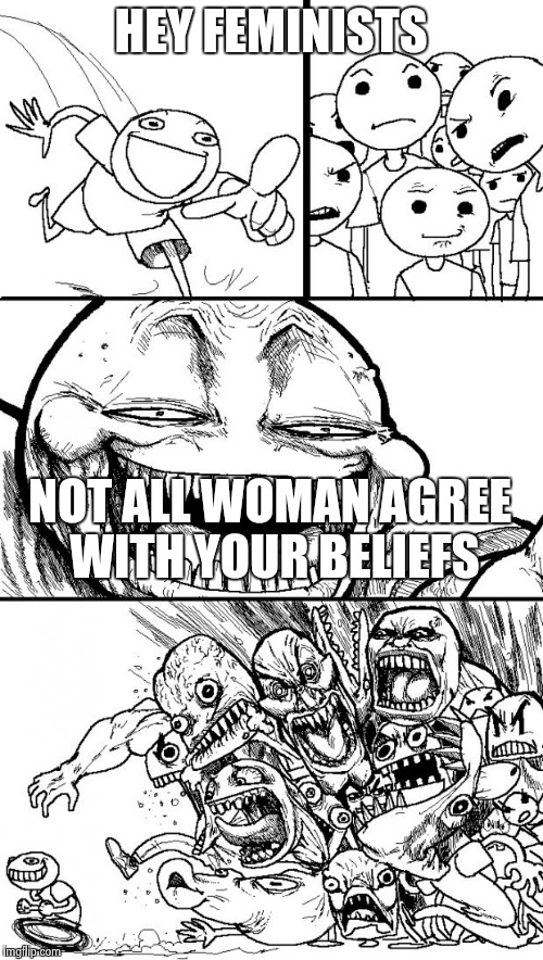 Hey Internet Meme | HEY FEMINISTS NOT ALL WOMAN AGREE WITH YOUR BELIEFS | image tagged in memes,hey internet | made w/ Imgflip meme maker