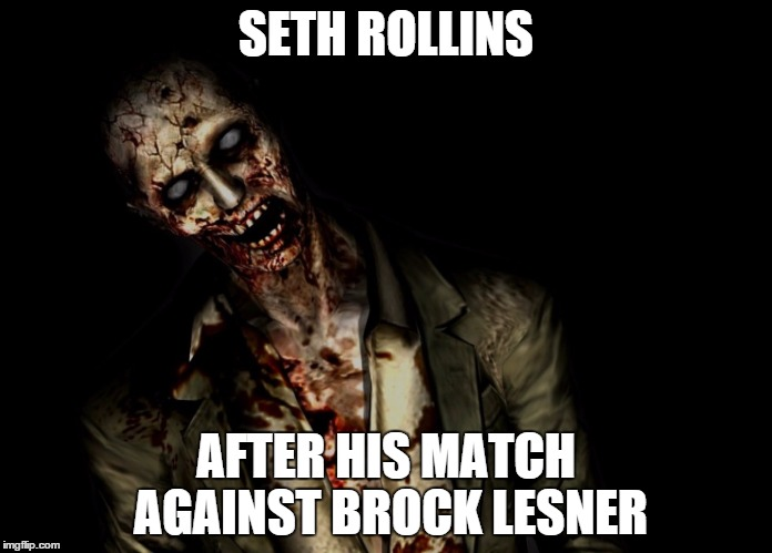 well it was nice to know you, seth. | SETH ROLLINS AFTER HIS MATCH AGAINST BROCK LESNER | image tagged in seth rollins,wwe meme,funny memes,brock lesnar | made w/ Imgflip meme maker
