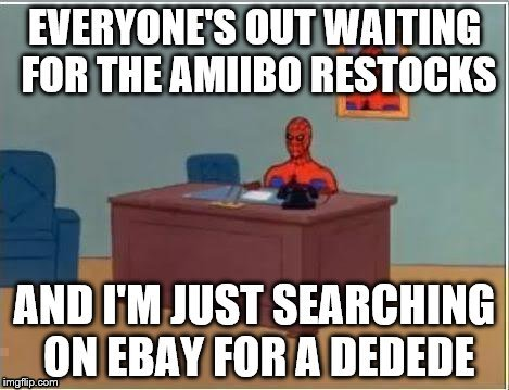 Amiibo Spiderman | image tagged in amiibo,spiderman computer desk,nintendo | made w/ Imgflip meme maker