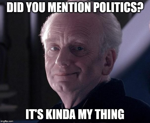 DID YOU MENTION POLITICS? IT'S KINDA MY THING | made w/ Imgflip meme maker