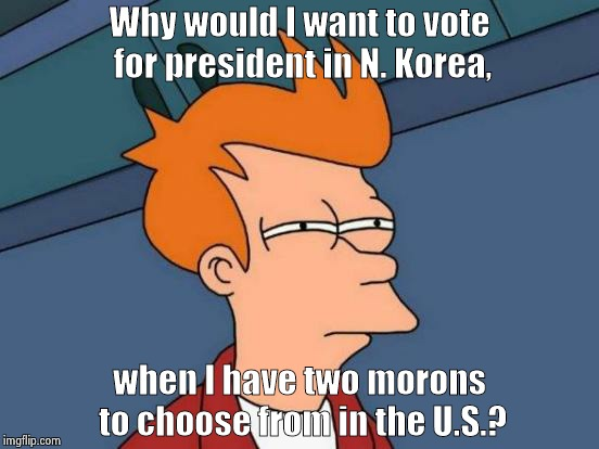 Futurama Fry Meme | Why would I want to vote for president in N. Korea, when I have two morons to choose from in the U.S.? | image tagged in memes,futurama fry | made w/ Imgflip meme maker