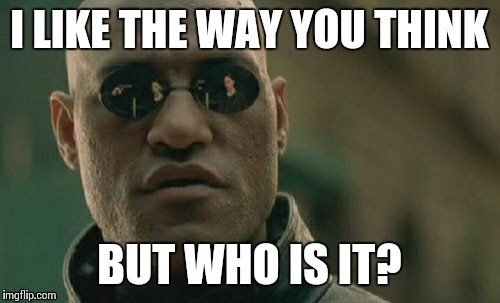 Matrix Morpheus Meme | I LIKE THE WAY YOU THINK BUT WHO IS IT? | image tagged in memes,matrix morpheus | made w/ Imgflip meme maker