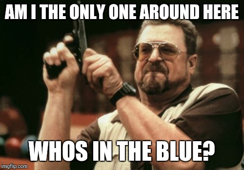 Am I The Only One Around Here Meme | AM I THE ONLY ONE AROUND HERE WHOS IN THE BLUE? | image tagged in memes,am i the only one around here | made w/ Imgflip meme maker