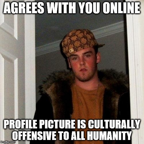 Scumbag Steve Meme | AGREES WITH YOU ONLINE PROFILE PICTURE IS CULTURALLY OFFENSIVE TO ALL HUMANITY | image tagged in memes,scumbag steve | made w/ Imgflip meme maker