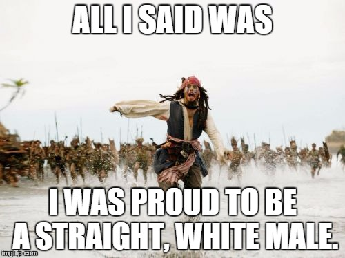 Be Proud... No matter what you are. | ALL I SAID WAS I WAS PROUD TO BE A STRAIGHT, WHITE MALE. | image tagged in memes,jack sparrow being chased,pride,white,shawnljohnson,political correctness | made w/ Imgflip meme maker