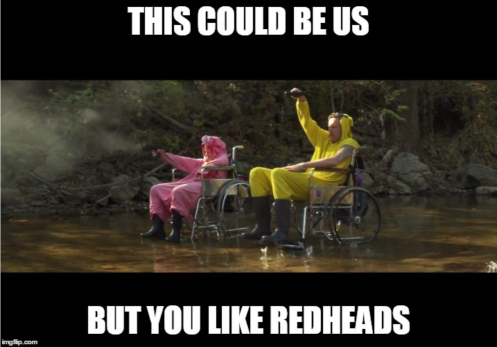 THIS COULD BE US BUT YOU LIKE REDHEADS | image tagged in die antwoord,this could be us,blonde,yo-landi,visser,ninja | made w/ Imgflip meme maker