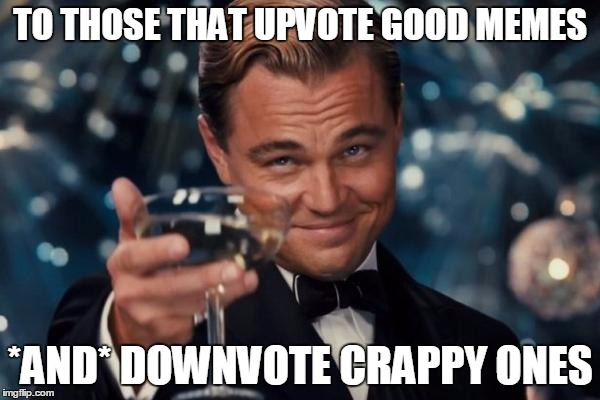 People need to know when they suck....and when they don't. | TO THOSE THAT UPVOTE GOOD MEMES *AND* DOWNVOTE CRAPPY ONES | image tagged in memes,leonardo dicaprio cheers | made w/ Imgflip meme maker