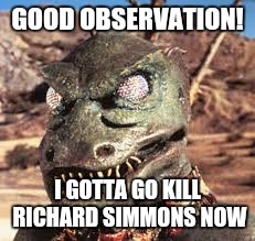 GOOD OBSERVATION! I GOTTA GO KILL RICHARD SIMMONS NOW | made w/ Imgflip meme maker