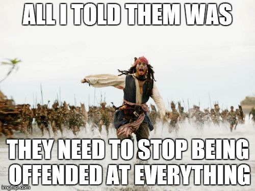 Jack Sparrow Being Chased Meme | ALL I TOLD THEM WAS THEY NEED TO STOP BEING OFFENDED AT EVERYTHING | image tagged in memes,jack sparrow being chased | made w/ Imgflip meme maker