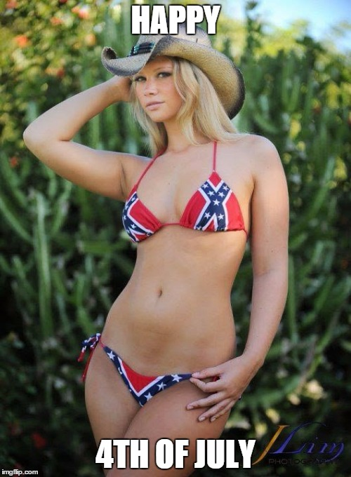 Confederate Bikini | HAPPY 4TH OF JULY | image tagged in confederate bikini,bad luck brian,funny,4th of july,aliens | made w/ Imgflip meme maker